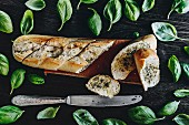 A baguette with herb butter