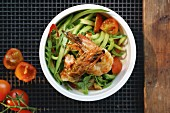 Zucchini noodles (zoodles) with prawns and tomatoes
