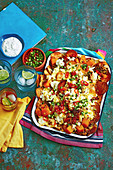 Cheesy Pumpkin Nachos with Coriander Yoghurt