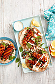 Paprika Chicken with Flatbread and Hummus