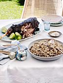 Curry-Lammkeule & Schwarzaugenbohnen mit Reis
