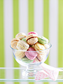 Macarons in a glass bowl