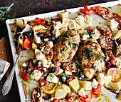 Greek-style chicken with feta, sundried tomatoes and olives