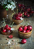 Fresh cherries and flowers