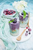 Porridge with frozen blackberries, mint and spirulina