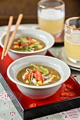 Chicken and sweetcorn soup with chillis and spring onion (Asia)