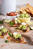 Galbi braised beef brisket, corn nachos, smashed avocados and gojuchang salsa (Korea)
