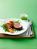 Peppered Steak with Tomato and Rocket Salad