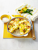 Zucchini-Flower and Tomato Frittata
