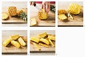 How to prepare a pineapple: remove the peel and stem