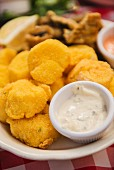 Corn-fried scallops with tartar sauce