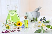 Various medicinal flowers, herbs, oils and vitamin tablets