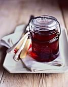A jar of red jam