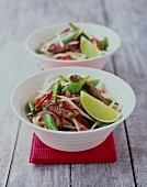 Pork stir fry with sprouts and sugar snap peas