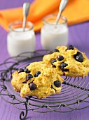 Blueberry and yoghurt scones on a wire cooling rack