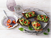 Wholemeal bread with avocado and coconut cream