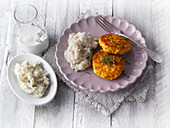 Salmon fritters with mashed cauliflower and coconut
