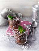Vegan coconut mousse au chocolat