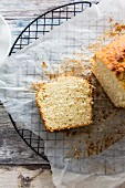 A sliced coconut and lime cake
