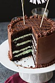 A dark chocolate and mint cream birthday cake