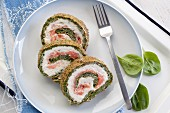 Spinach strudel with salmon and cream cheese