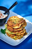 Zucchini and potato fritters with parsley