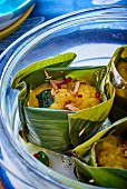 Fish amok in a banana leaf (traditional Cambodian seafood curry)