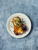Baked pumpkin with herbs and crème fraîche