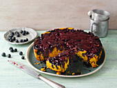 Upside down blueberry and turmeric cake