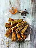 Muesli bars made with bananas, hazelnuts and turmeric