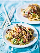 Spicy Asian beef and noodle stir-fry