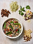 Thai noodle salad with beef and sesame seeds