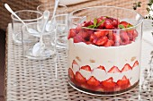 Strawberry tiramisu in a trifle glass