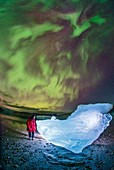 Aurora borealis over glacial ice, Greenland