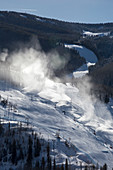 Snow cannon use at a ski resort