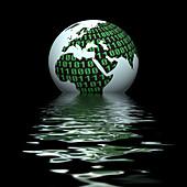 Digital globe, conceptual illustration