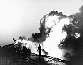 Shipboard fire in the Korean War