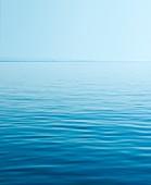 Calm sea with horizon, Greece.