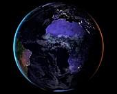 Europe and Africa at night, satellite image