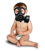 Baby in a gas mask