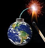Earth bomb, conceptual illustration