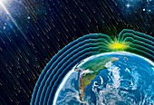 Earth's magnetic field and aurora, illustration