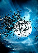 Debris from a white hole, illustration