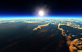 Sunrise above planet earth