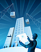 Architect holding a blueprint, illustration