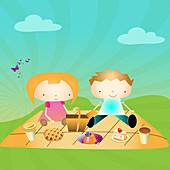 Boy and a girl on a picnic in a park, illustration