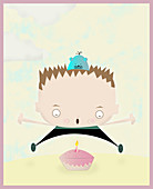 Boy blowing out his birthday candle, illustration