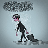 Businessman carrying an empty briefcase, illustration