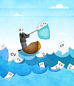 Businessman catching resume from the sea, illustration