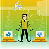 Businessman connecting World with Internet, illustration
